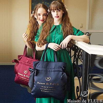 Maison de FLEUR 光澤感側蝴蝶結絲帶手提包