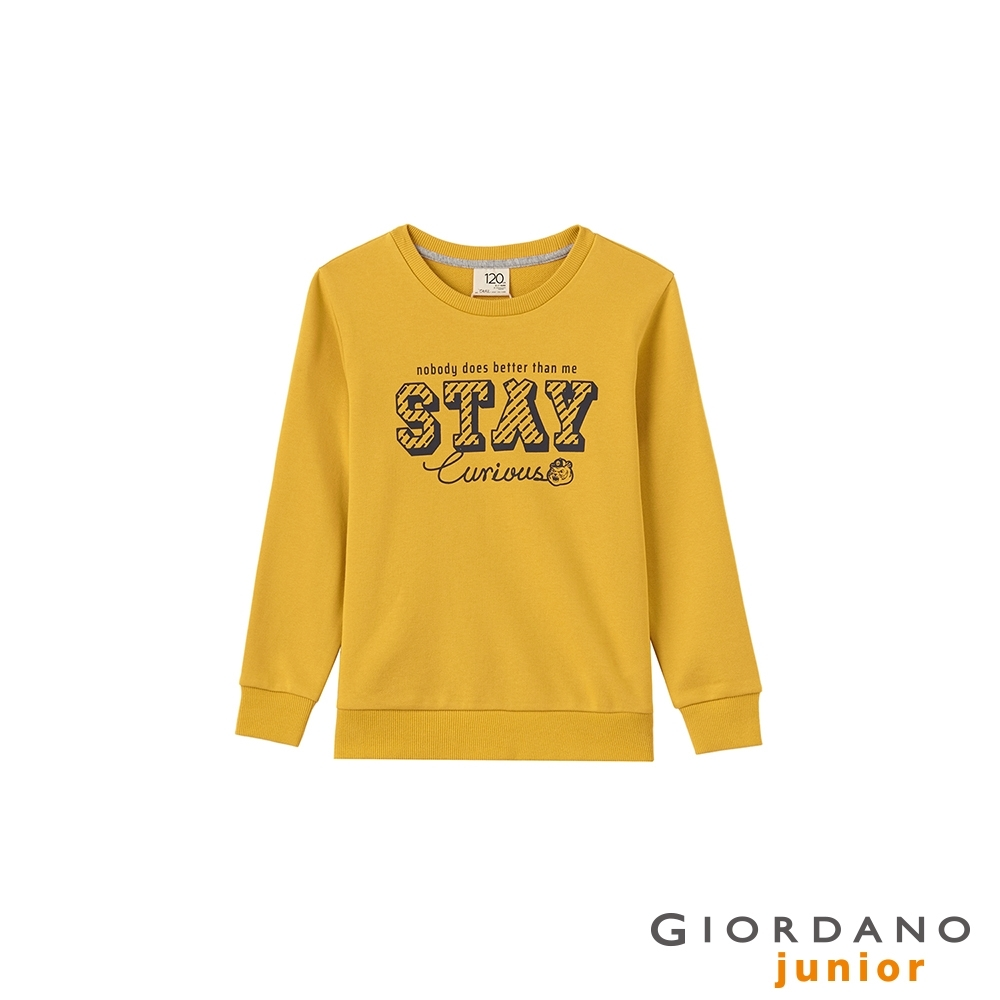 GIORDANO 童裝Stay Curious長袖T恤 - 21 古金黃