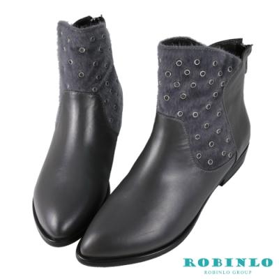 Robinlo 全真皮拼接毛料後拉鍊短靴 灰色