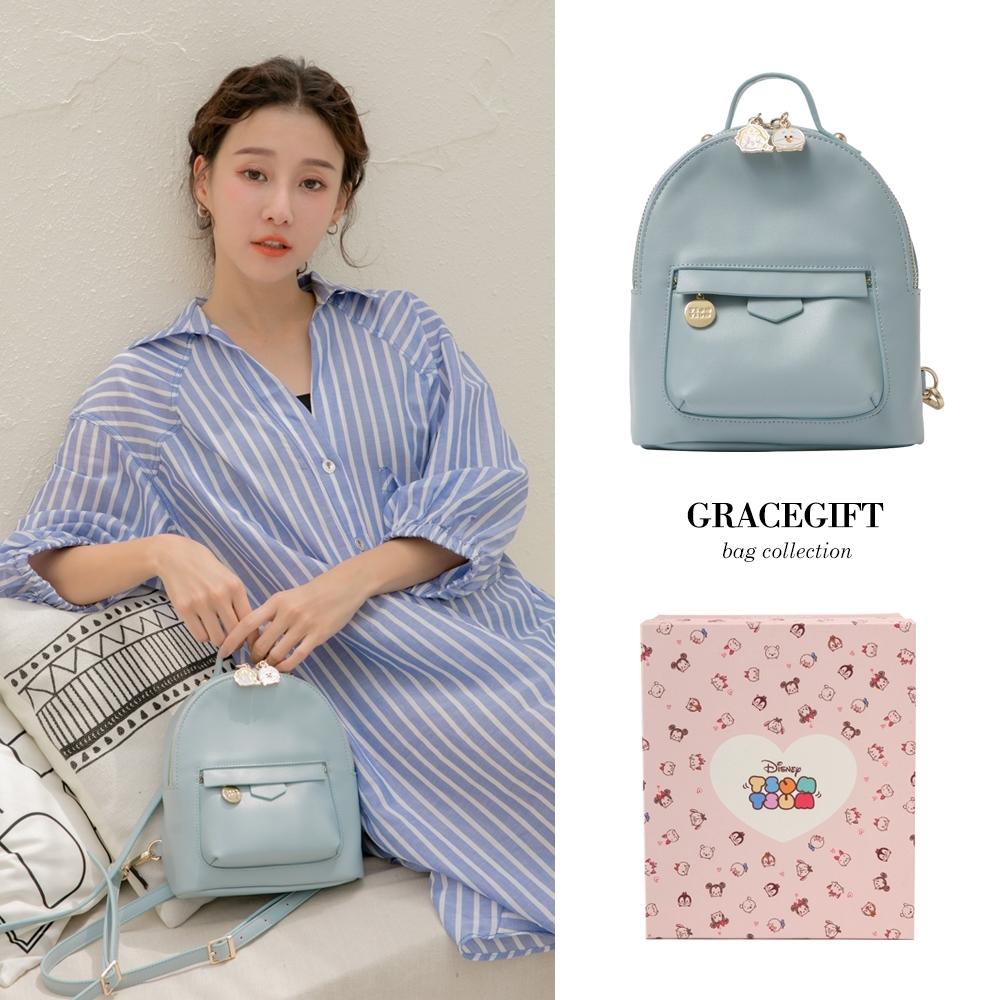 Disney collection by grace gift- Tsum Tsum冰雪奇緣雙拉鍊後背包 淺藍