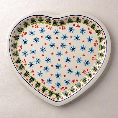 波蘭陶耶誕雪花系列愛心造型餐盤波蘭手工製