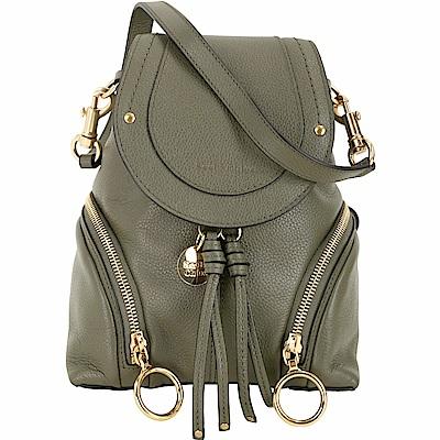 SEE BY CHLOE Olga 小型 雙拉鍊設計牛皮後背包(墨綠色)