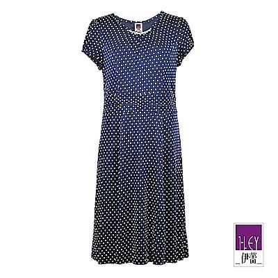 ILEY伊蕾 彈力舒適圓點印花洋裝(藍)