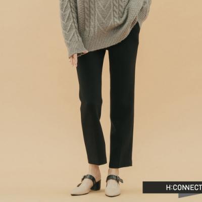 H:CONNECT 韓國品牌 女裝-知性純色後鬆緊西裝褲-黑