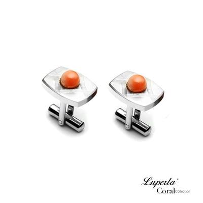 大東山珠寶 簡約線條 仕紳系列 天然粉珊瑚 西裝領徽 袖扣