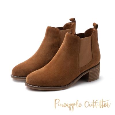 Pineapple Outfitter-BIRCH時尚側鬆緊帶麂皮短筒靴-絨棕色