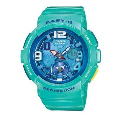 BABY-G 海灘女孩愛旅行系列地圖概念休閒錶(BGA-190-3B)-深海藍綠/44mm