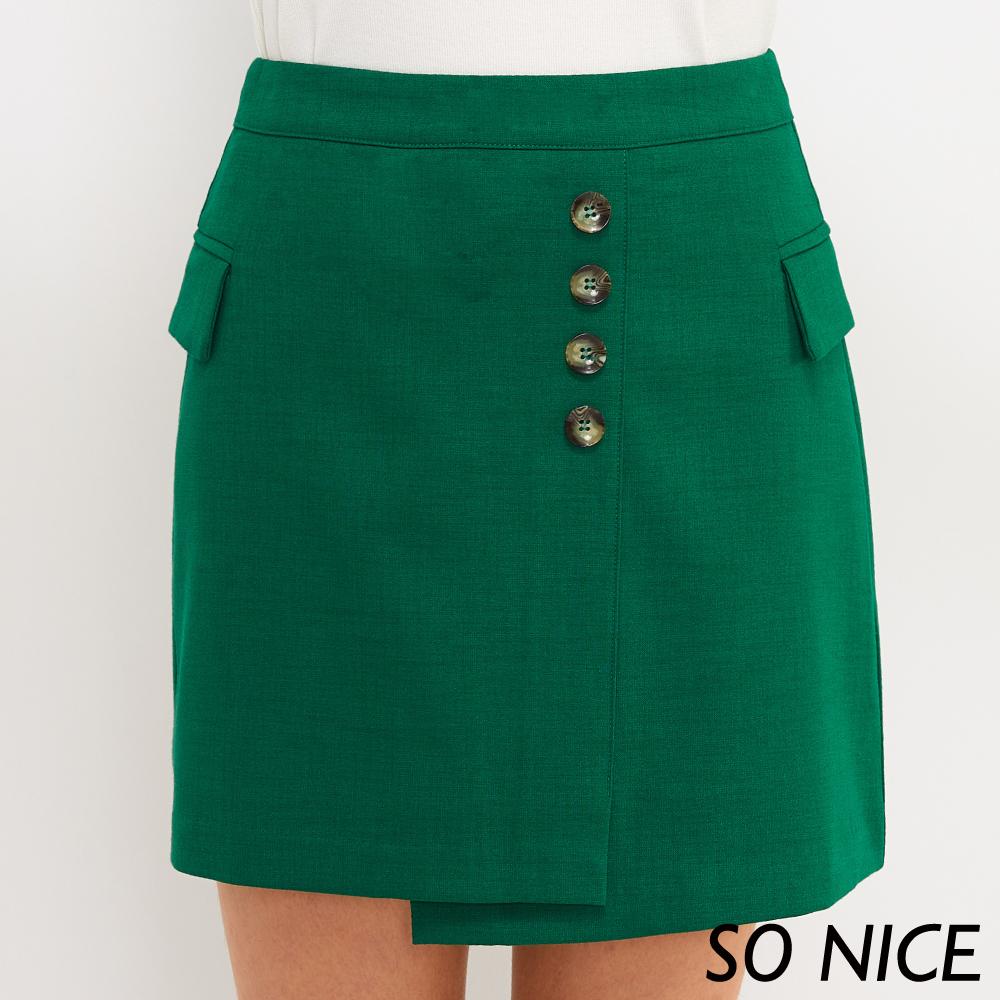 SO NICE俏麗鈕釦不對稱造型短裙