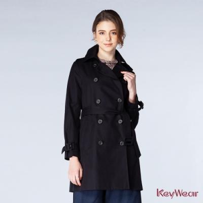 KeyWear奇威名品    100%棉經典中長版風衣-黑色