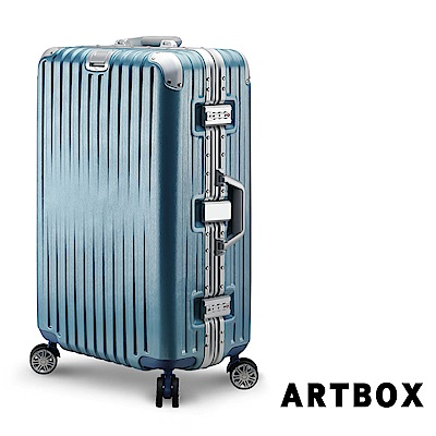 【ARTBOX】雅痞歐旅 29吋創新線條海關鎖鋁框行李箱(冰藍)