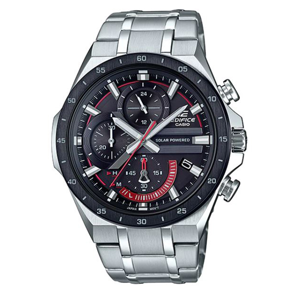 CASIO EDIFICE紅指針3D錶盤太陽能電力腕錶-(EQS-920DB-1A)/48