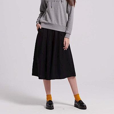 GIORDANO 女裝棉麻素色七分寬褲-09 標誌黑
