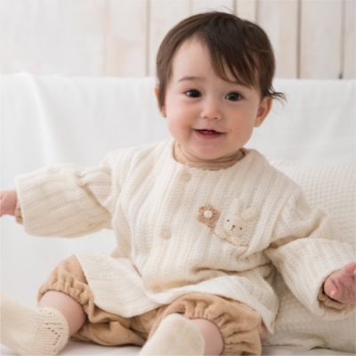 【Amorosa Mamma】有機棉嬰幼兒針織外套-小兔