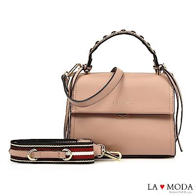 La Moda 設計師款多背法大容量肩背斜背方包(粉)