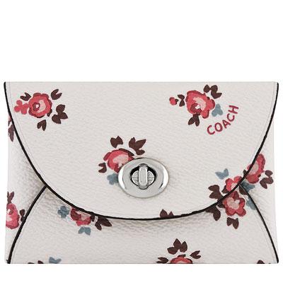 COACH 白色花朵圖樣PVC旋釦零錢包/證件名片夾