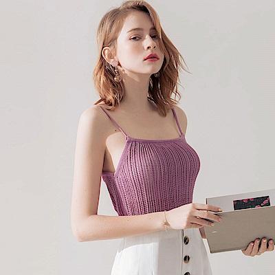 AIR SPACE 透肌感針織細肩背心(紫)