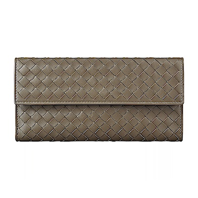 BV BOTTEGA VENETA經典編織設計羊皮<b>9</b>卡扣式長夾(灰褐)