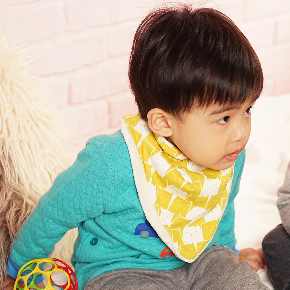 【QBabe】柔軟雙層加絨保暖三角口水圍巾-黃色貓咪 @ Y!購物