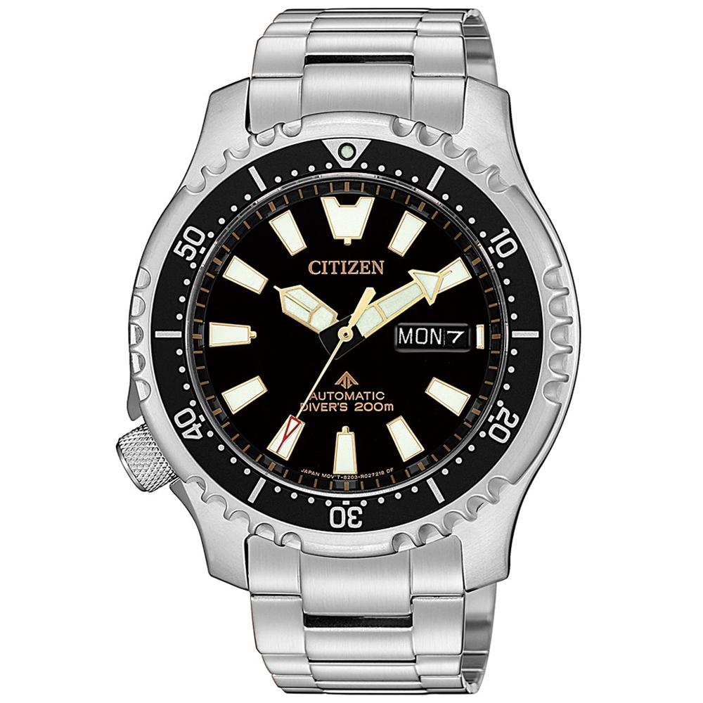 CITIZEN 限量黑金河豚艦隊機械潛水錶(NY0090-86E)-黑x金/42mm