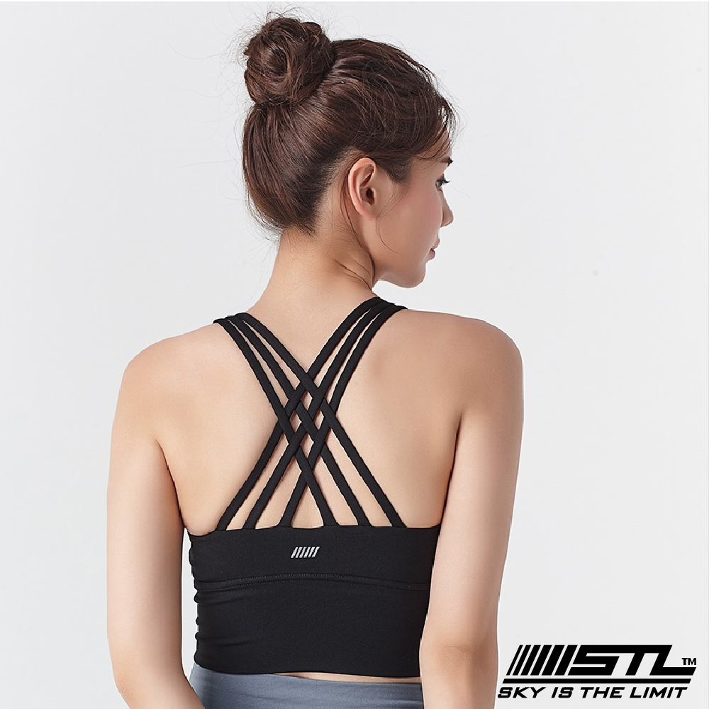 STL Yoga Bra Crop Top 123 韓國 高度支撐訓練機能 運動內衣/短版上衣(含專利胸墊)編織黑