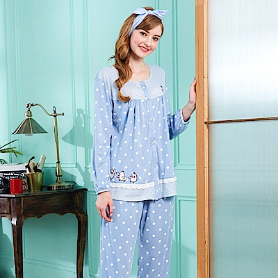 睡衣 點點小鴨 針織棉長袖兩件式睡衣(R77206-10藍色) 蕾妮塔塔