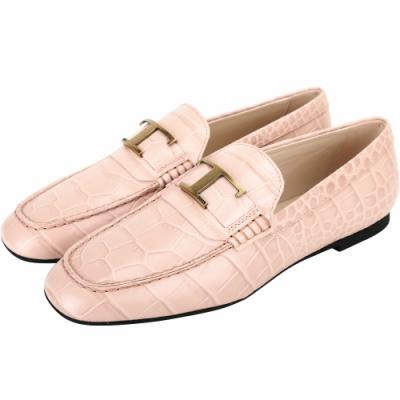 TOD'S Timeless 銅金T字鱷魚紋壓花牛皮樂褔鞋(粉色)