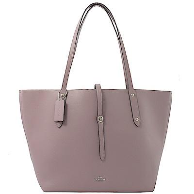COACH 專櫃同步款金屬LOGO牛皮肩背托特包(粉紫)