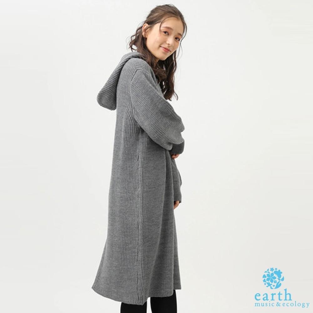earth music 連帽剪裁簡約素面針織洋裝