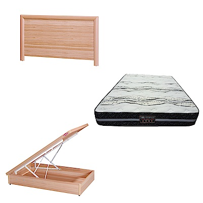 綠活居 羅多3.5尺單人床台三式組合(床頭片+後掀床底+奈米抗菌獨立筒床墊)五色可選