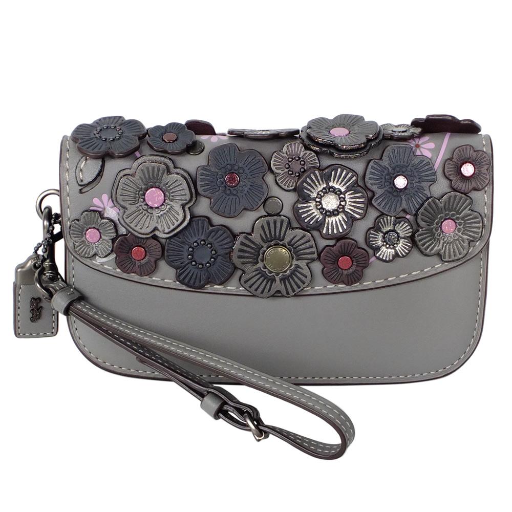 COACH灰色全皮立體皮革貼花內雙層翻蓋晚宴手拿包