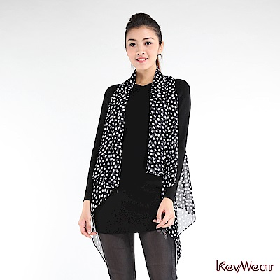 KeyWear奇威名品    趣味點點造型開襟背心-黑色