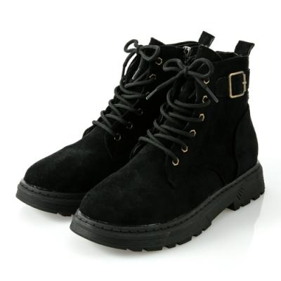 JMS-街頭魅力後釦環綁帶拉鍊短靴-黑色