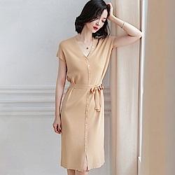 綻放  單排扣綁帶洋裝-共4色-(M/L可選)