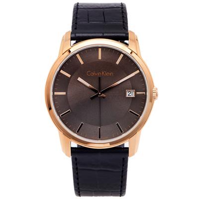 CK Calvin Klein 時尚典藏皮革手錶(K5S316C3)-灰面X黑色/42mm