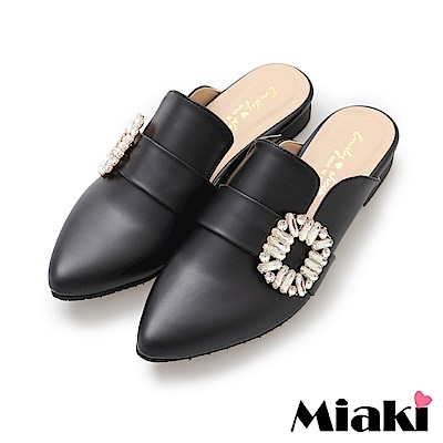Miaki-穆勒鞋夏日韓風低跟休閒鞋-黑