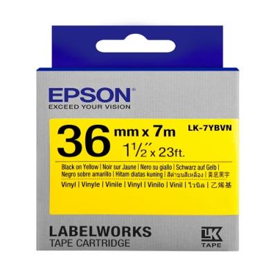 EPSON C53S657411 LK-7YBVN產業標籤帶耐久型(寬度36mm)黃底黑字