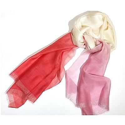 ELLE時尚氣質薄披兩用多功能絲巾披肩_粉/紅/藍