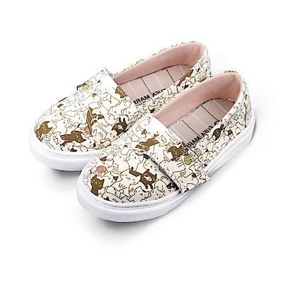 BuyGlasses 可愛貓咪魔鬼氈兒童懶人鞋-米