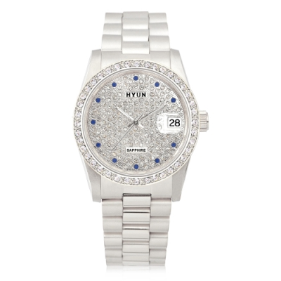 HYUN炫 極致奢華多鑽精品錶-銀
