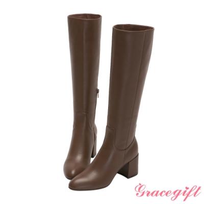 Grace gift X Jessica-聯名全真皮膝下高跟長靴 咖