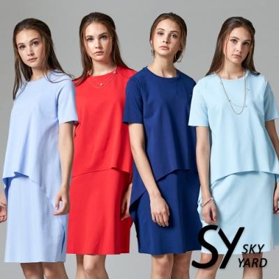 【時時樂】SKY YARD 天空花園-都會休閒素色不規則剪裁假二件式短袖洋裝-六色