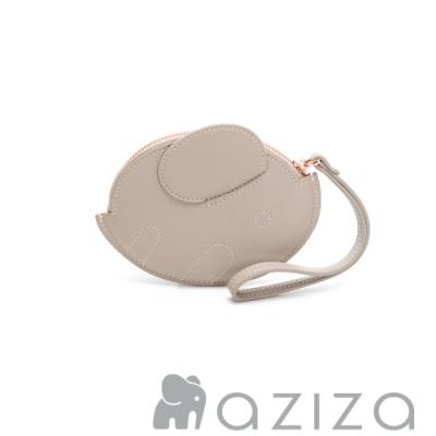 aziza 橢圓小象手拎零錢包 灰色