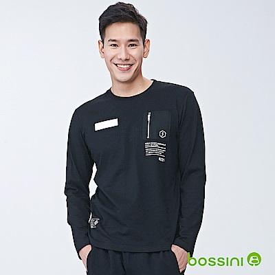 bossini男裝-長袖圓領上衣02黑