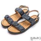 DIANA 漫步雲端厚切焦糖美人款-鉚釘造型釦飾真皮涼鞋-藍