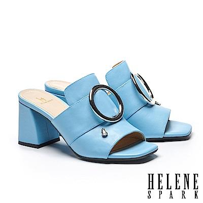 拖鞋 HELENE SPARK 金屬圓釦水滴鑽飾全真皮高跟拖鞋-藍