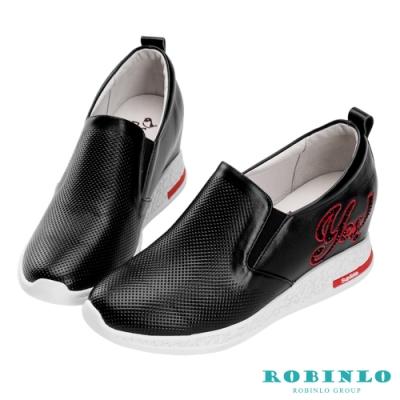 Robinlo 個性英文鑲鑽牛皮內增高休閒鞋 黑色