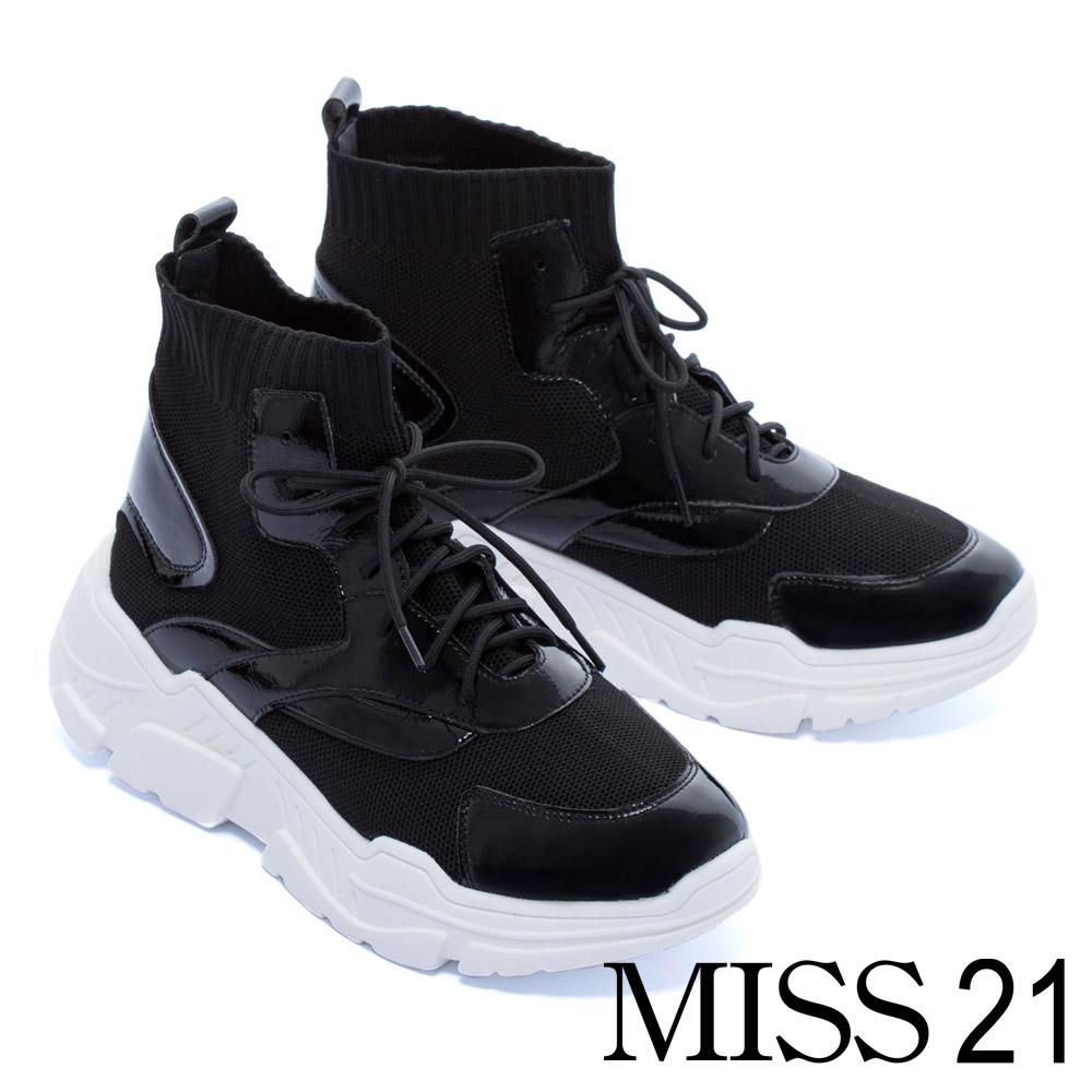 休閒鞋 MISS 21 尖端潮流異材質設計綁帶襪套式厚底休閒鞋-黑