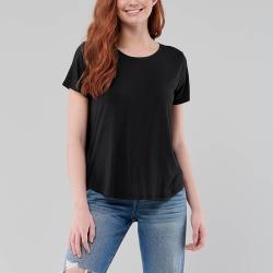 海鷗 Hollister HCO 刺繡海鷗圓領圓弧下襬素面短袖T恤(女)-黑色