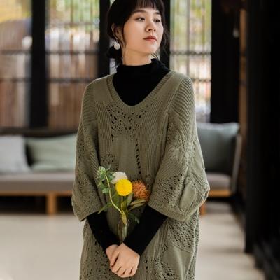 旅途原品_遊春_綿羊毛提花針織連衣裙- 綠色