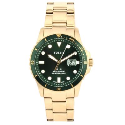 FOSSIL FB-01日期綠錶框金色不銹鋼腕錶42mm(FS5658)